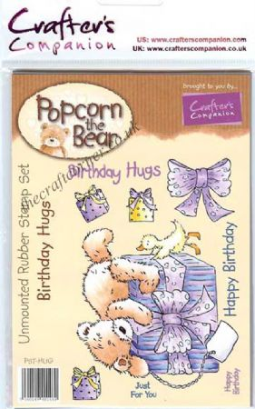 Birthday Hugs Popcorn Bear Unmounted Rubber Stamps